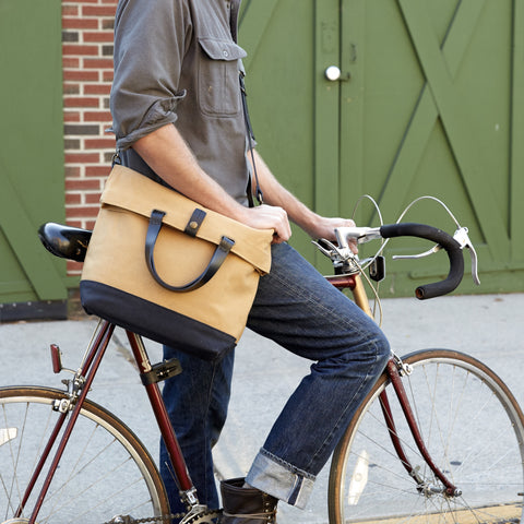 LARGE MESSENGER BAG - Charcoal/Natural