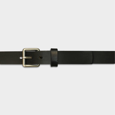 NARROW ROLLER BUCKLE BELT - Black