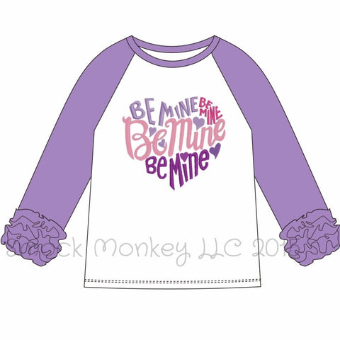 "Girl's applique ""BE MINE HEART"" white knit baseball shirt with lavender ruffle sleeves  (24m,2t,3t,5t,6t,7t,8t)"