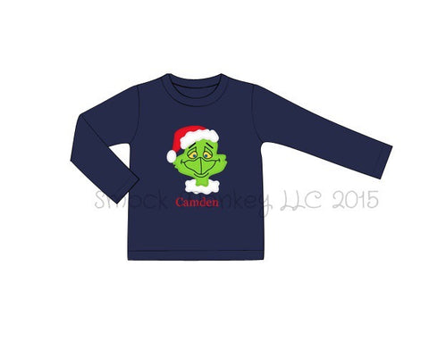 "Boy's applique ""GRINCHY"" navy knit long sleeve shirt (NO MONOGRAM) (9m,18m,24m,6t,8t,10t)"