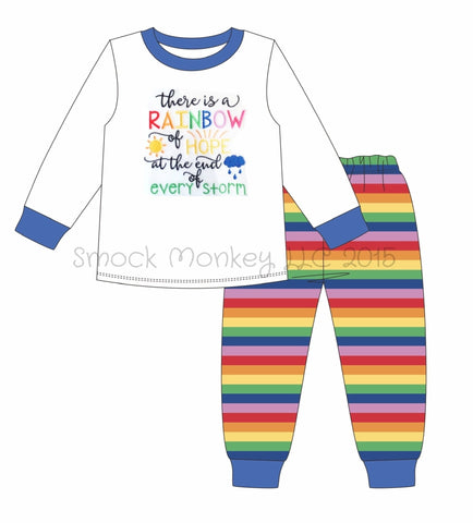 "Boy's applique ""AFTER THE STORM"" white long sleeve with rainbow stripe pajama set (NB,3m,9m,12m,18m,24m,2t,3t,4t,5t,6t,7t,8t)"