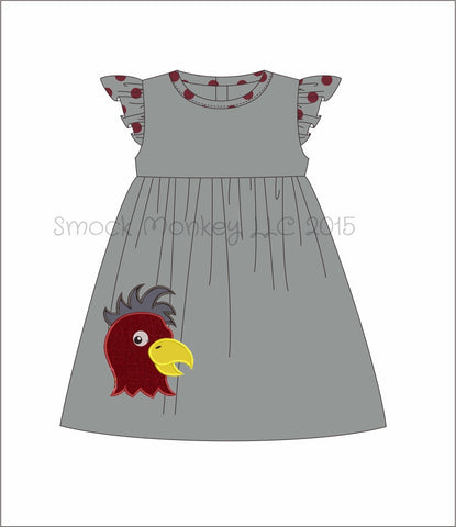 "Girl's applique ""CHICKEN"" gray with polka dot angel wing knit swing dress (SEE COMMENTS FOR DESIGN ON DRESS) (NB,6m,18m,24m,3t,4t,5t,6t,7t,8t)"