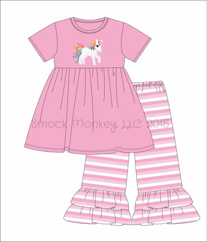 "Girl's applique ""UNICORN"" pink short sleeve swing top and pink striped leggings set (9m,12m,18m,24m,2t)"