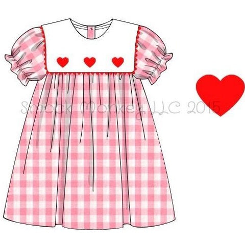 "Girl's square collar ""3 RED HEARTS"" pink gingham short sleeve dress (6m,9m,24m,2t,4t,5t,6t)"