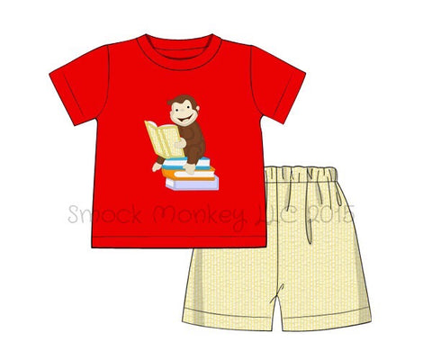 "Boy's applique ""CURIOUS READER"" red short sleeve shirt and yellow seersucker short set (24m,2t,3t,4t,5t,6t)"