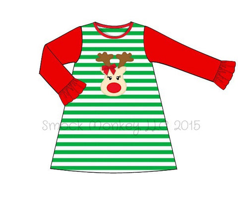 "Girl's applique ""RUDOLPH"" long sleeve green striped with red long sleeves knit dress (9m,24m,7t,8t,10t)"