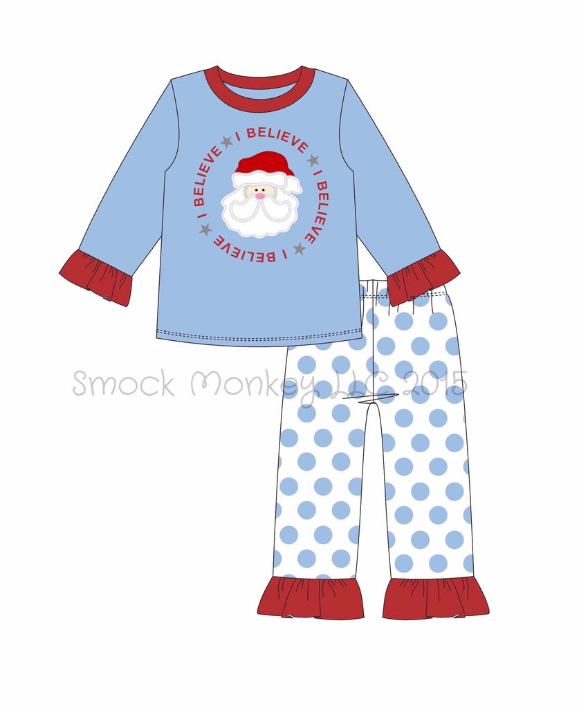 "Girl's applique ""SANTA BELIEVES"" blue with polka dots ruffle two piece pajama set (24m,2t,3t,7t,8t)"