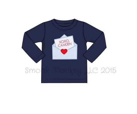 "Boy's applique ""LOVE LETTER"" navy long sleeve knit shirt (NO MONOGRAM*) (9m,12m,18m,24m,8t)"