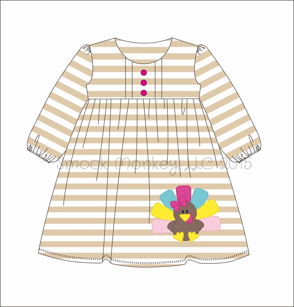 "Girl's applique ""TURKEY"" long sleeve striped knit swing dress (3m,6m,9m,12m,24m,2t,3t,4t,5t,6t,7t,8t.10t)"