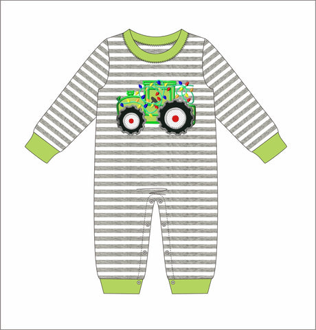 "Boy's applique ""TRACTOR OF LIGHTS"" gray striped knit long sleeve romper (3m,6m,9m,12m,18m,2t,3t,4t)"