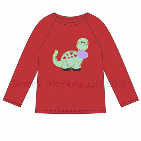 "Boy's applique ""DINOSAUR LOVE"" red knit short sleeve shirt (3m,6m,12m,24m,2t,3t,5t)"