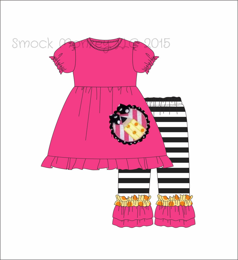 "Girl's applique ""PENCIL*"" hot pink swing top with black striped knit ruffle pant set (24m,2t,3t,4t,5t,6t,7t,8t,10t)"