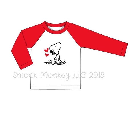"Boy's applique ""P-DOG LOVE"" white baseball shirt with red sleeves (18m,8t)"
