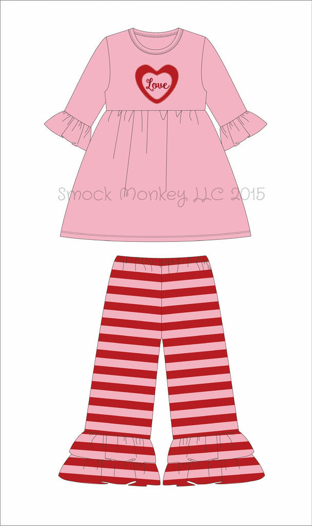 "Girl's applique ""LOVE"" pink 3/4 sleeve swing top and pink and red striped ruffle pants (18m,24m,2t,3t,4t,5t,6t,7t,8t)"