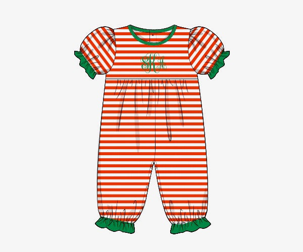 Girl's red thin striped knit short sleeve long pant bubble romper with green trim (NO MONOGRAM) (3m,6m,9m,12m,18m,24m,2t)