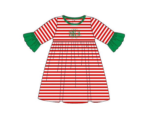 Girl's red thin striped knit swing dress with 3/4 striped with green ruffle bell sleeves (NO MONOGRAM) (3m,9m,18m,24m,2t,4t,6t,7t,8t)