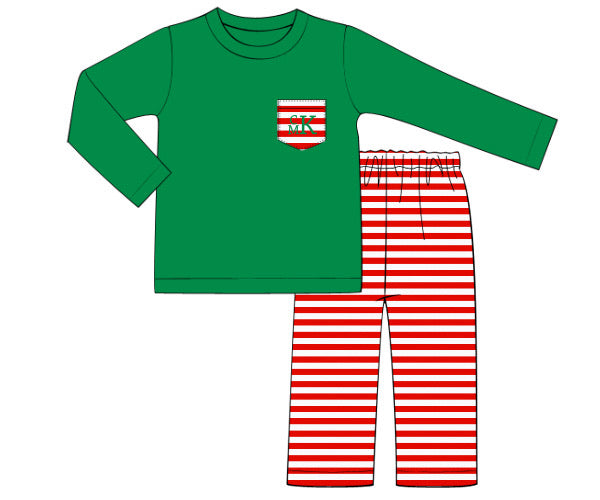Boy's green knit long sleeve shirt and red thin striped knit pants (NO MONOGRAM) (12m,2t,3t,4t,5t,6t,8t)