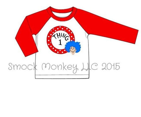 "Boy's applique ""I AM THING 1"" white baseball shirt with red sleeves (2t,3t,7t)"