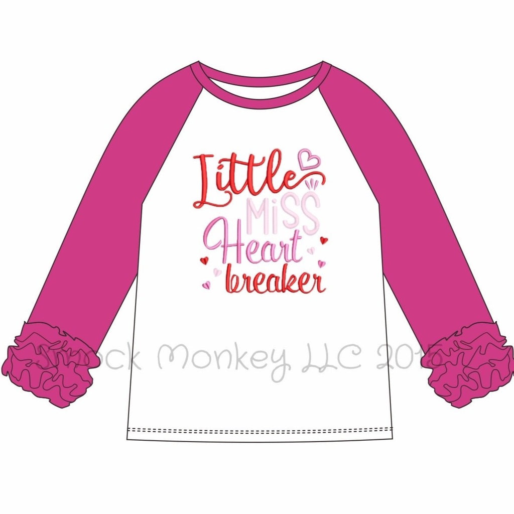 "Girl's applique ""LITTLE MISS HEART BREAKER"" white knit baseball shirt with hot pink ruffle sleeves (18m,24m,2t,3t,4t,5t,6t)"