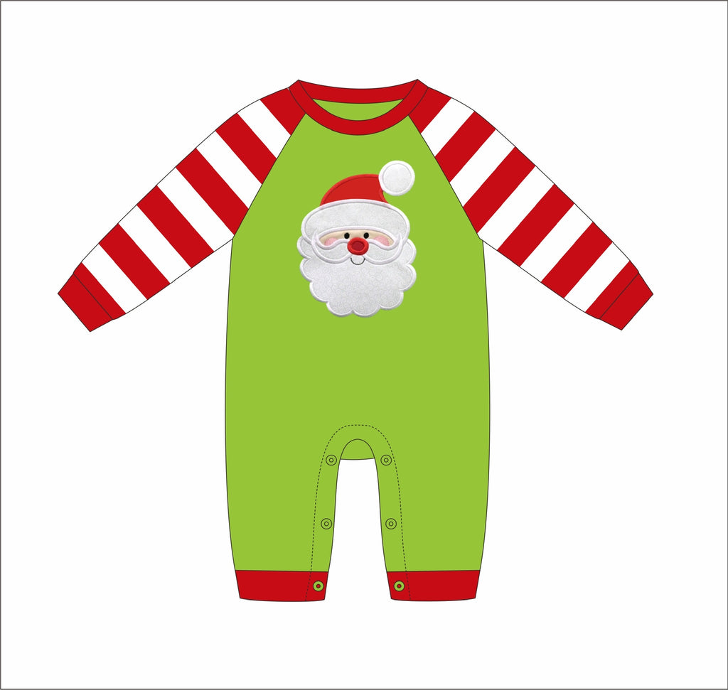 "Boy's applique ""SANTA"" lime and red striped long sleeve shirt romper (NB,3m,6m,9m,12m,18m,24m,2t,3t)"