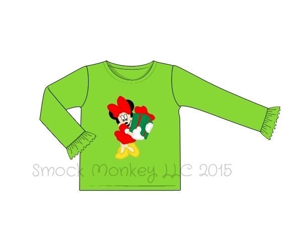 "Girl's applique ""MS. CHRISTMAS MOUSE"" lime knit long sleeve ruffle shirt (18m,24m,2t,3t,4t,5t)"