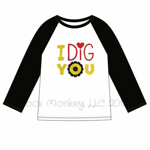 "Boy's applique ""I DIG YOU"" (ORANGE THREAD) white knit baseball shirt with black sleeves (24m,2t,3t,4t,5t,6t)"