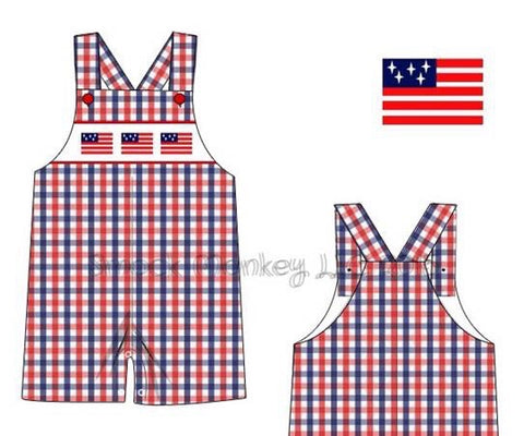 "Boy's smocked ""Flags"" red / blue gingham overalls (9m,12m,18m,2t,3t,4t)"
