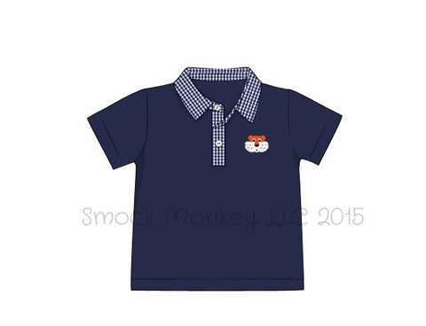 "Boy's embroidered ""TIGER"" navy knit with gingham polo shirt (2t,3t,4t,6t,7t)"