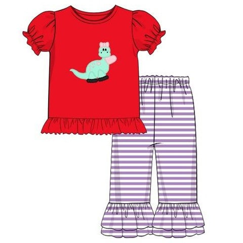 "Girl's applique ""DINOSAUR LOVE"" red knit short sleeve shirt and lavender striped ruffle pants set (18m,24m,2t,5t,8t)"
