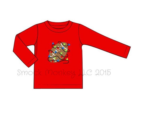 "Boy's applique ""FOOTBALL LIGHTS"" red knit long sleeve shirt (6m,24m)"