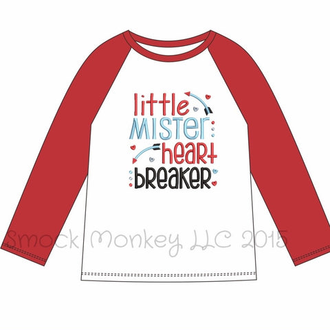 "Boy's applique ""LITTLE MR HEART BREAKER"" white knit baseball shirt with red sleeves (18m,24m,2t,4t,5t,6t,8t)"