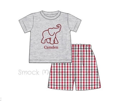 "Boy's applique ""ELEPHANT"" gray short sleeve shirt and garnet/gray plaid shorts (NO MONOGRAM) (12m,2t,3t,4t,5t,6t)"
