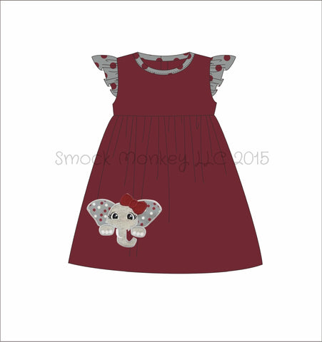 "Girl's applique ""ELEPHANT"" garnet with gray polka dot angel wing knit swing dress (6m,12m,18m,2t,3t,4t,5t,8t)"