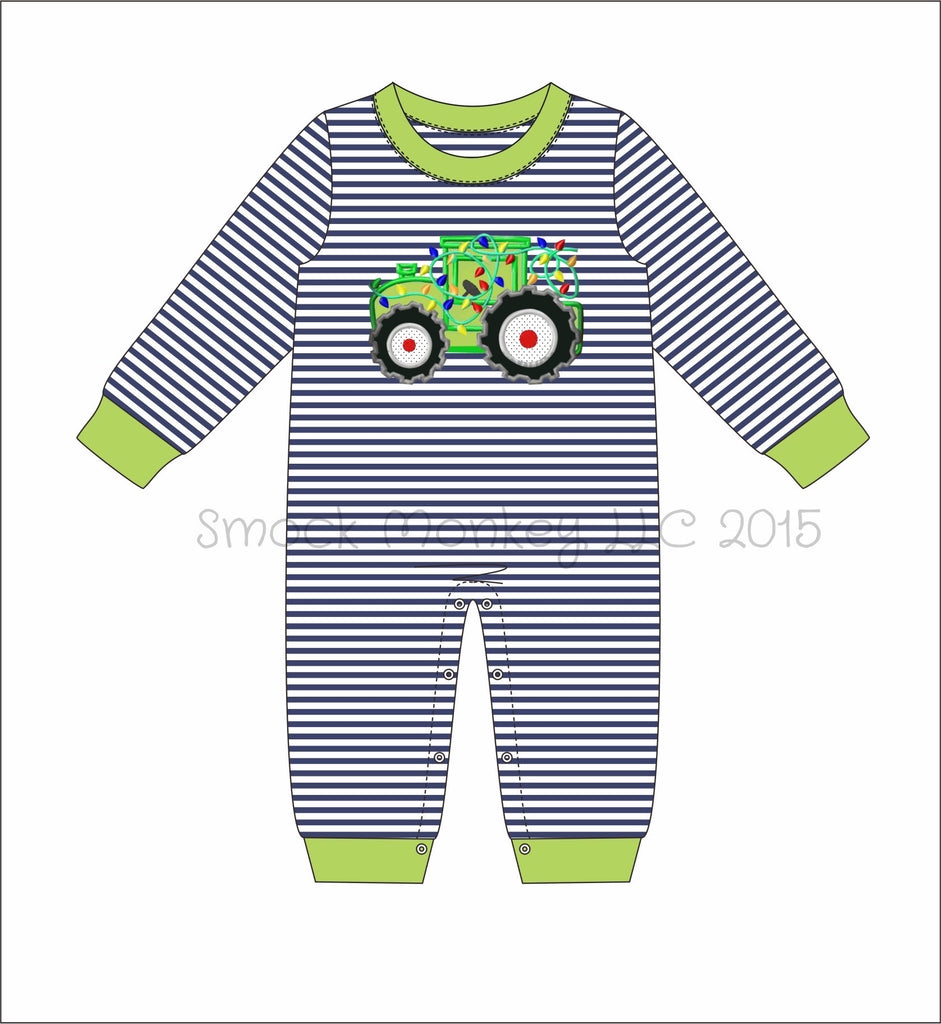 "Boy's applique ""TRACTOR WITH LIGHTS"" navy thin striped knit long sleeve pant romper (3m,6m,9m,12m,18m,24m,2t,5t)"