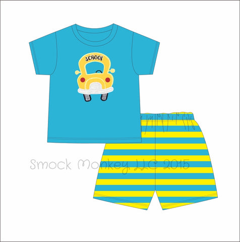 "Boy's applique ""SCHOOL BUS"" yellow aqua shirt sleeve shirt and aqua and yellow striped short set (2t,3t,4t,5t,6t)"