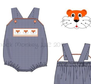"Boy's smocked ""TIGERS"" navy microgingham bubble (NB,9m,2t,3t)"