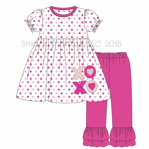 "Girl's applique ""XOXO"" hot pink**(see desc) and pink polka dot knit swing top with hot pink ruffle pants set (12m,18m,24m,2t,3t,4t,5t,6t,7t,8t,12t)"