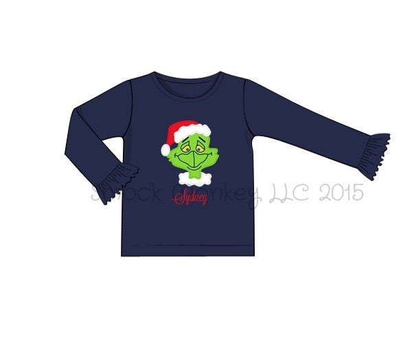 "Girl's applique ""GRINCHY"" navy knit long sleeve ruffle shirt (NO MONOGRAM) (9m,18m,24m,2t,3t,8t)"