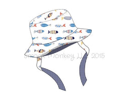 "Boy's ""FISH"" print bucket hat with strap (M,L)"
