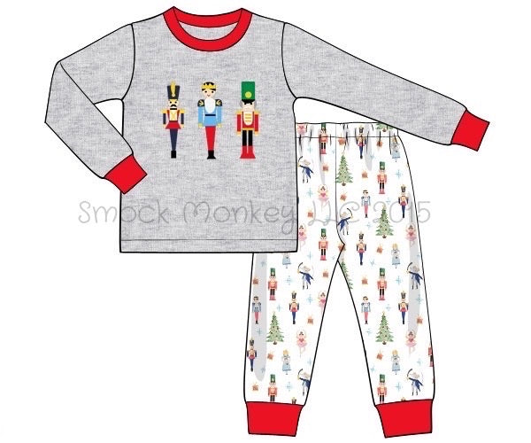"Boy's applique ""NUTCRACKER"" gray long sleeve and nutcracker knit two piece pajama set (18m,2t)"