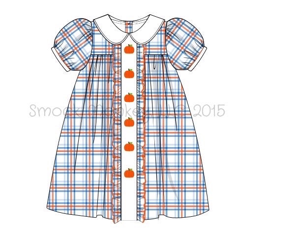 "Girl's peter pan collar embroidered ""PUMPKINS"" aqua/orange plaid dress (18m,24m,3t,4t,5t,6t)"