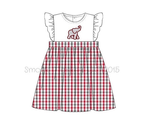 "Girl's applique ""ELEPHANT"" white with garnet and gray plaid angel wing dress (24m,2t,3t,4t,5t,6t,8t)"