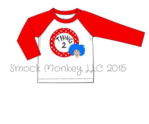 "Boy's applique ""I AM THING 2"" white baseball shirt with red sleeves (12m,18m,24m,3t)"