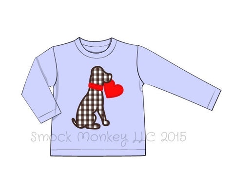 "Boy's applique ""PUPPY LOVE"" perinwinkle blue knit long sleeve shirt (NO MONOGRAM) (12m,18m,24m,2t,3t,5t,6t,7t)"