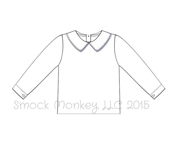 Boy's white peter pan pointed collar long sleeve pique cotton shirt (3m,9m,12m,2t,3t,4t,5t,6t)