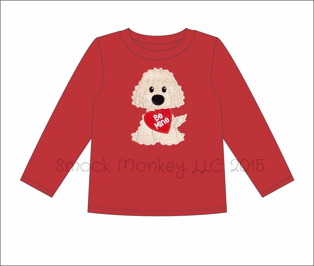 "Boy's applique ""PUPPY LOVE"" red long sleeve knit shirt (6m,12m,18m,24m,2t,4t,5t,6t,7t,8t)"