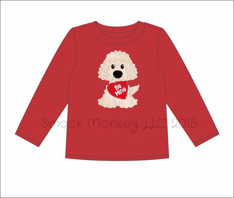 "Boy's applique ""PUPPY LOVE"" red long sleeve knit shirt (6m,12m,18m,24m,2t,3t,4t,5t,6t,7t,8t)"