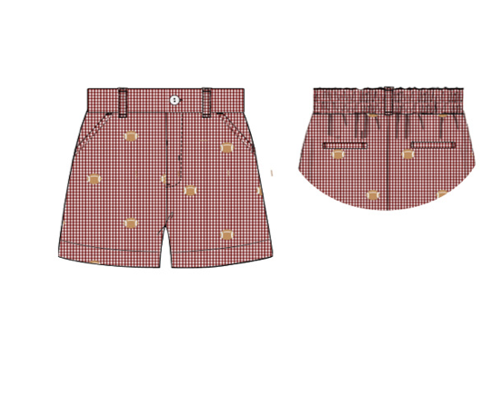 "Boy's embroidered ""FOOTBALLS"" garnet gingham pocket shorts (12m,18m,24m,2t,3t,4t,5t,6t,7t)"