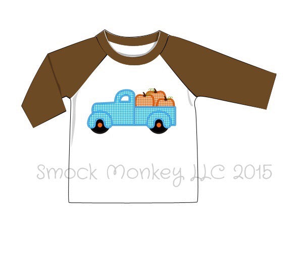 "Boy's applique ""OLD FASHIONED PUMPKIN TRUCK"" white baseball shirt with 3/4 brown sleeves (18m,2t,3t,4t,5t,6t)"