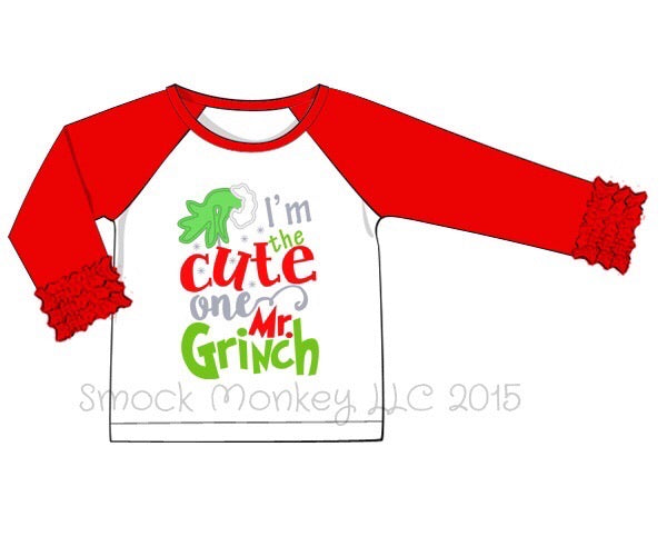 "Girl's applique ""I AM THE CUTE ONE"" baseball shirt with red ruffle sleeves (6m,9m,24m,10t)"